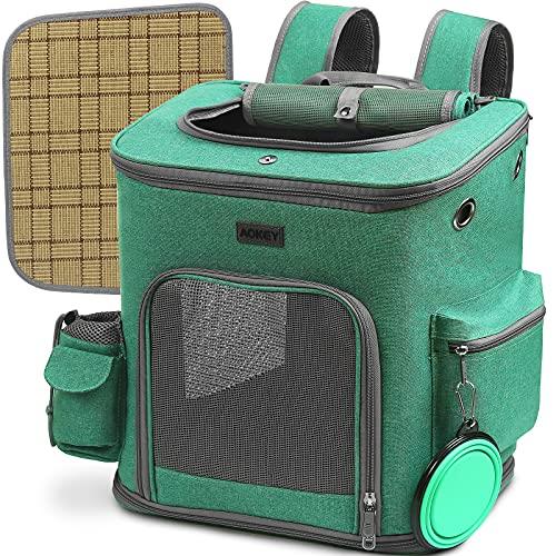 AOKEY Hunderucksack, Katzen Rucksack Faltbar, Hunderucksack bis 10 kg mit Kühl/Warm-Pet-Pad, Faltbarer Hundenapf, internem Sicherheitsseil und gute Luftdurchlässigkeit, für Reiten, Wandern und Reisen