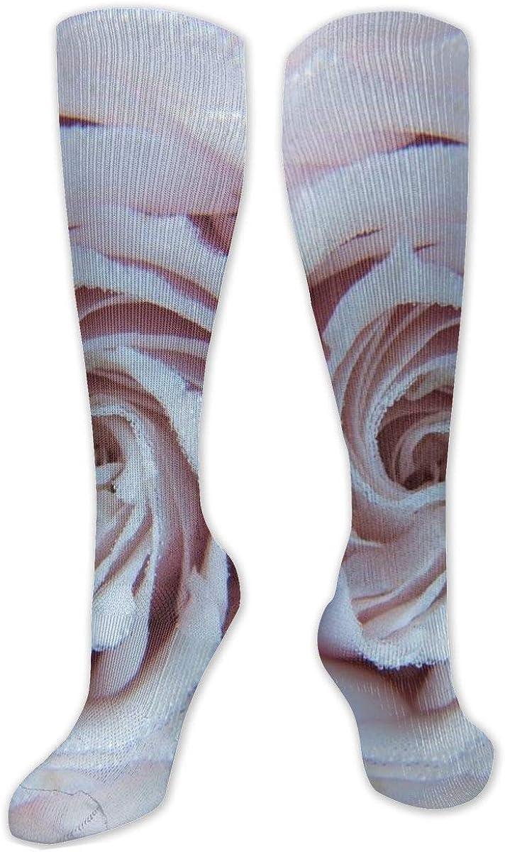 Pink Petaled Flower Rose Drops Knee High Socks Leg Warmer Dresses Long Boot Stockings For Womens Cosplay Daily Wear