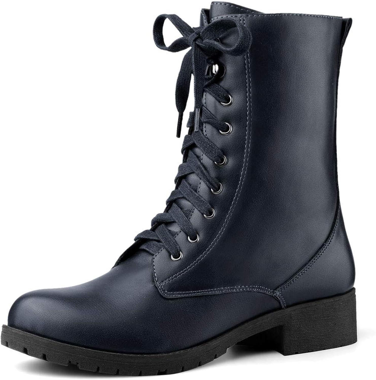 Allegra K Women's Round Toe Lace Up Combat Mid Calf Combat Boots