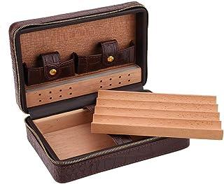 Taidda Humidor de cigarros, Caja de cigarrillos de color marrón negro caja de cigarros con humidor portátil Estuche de via...