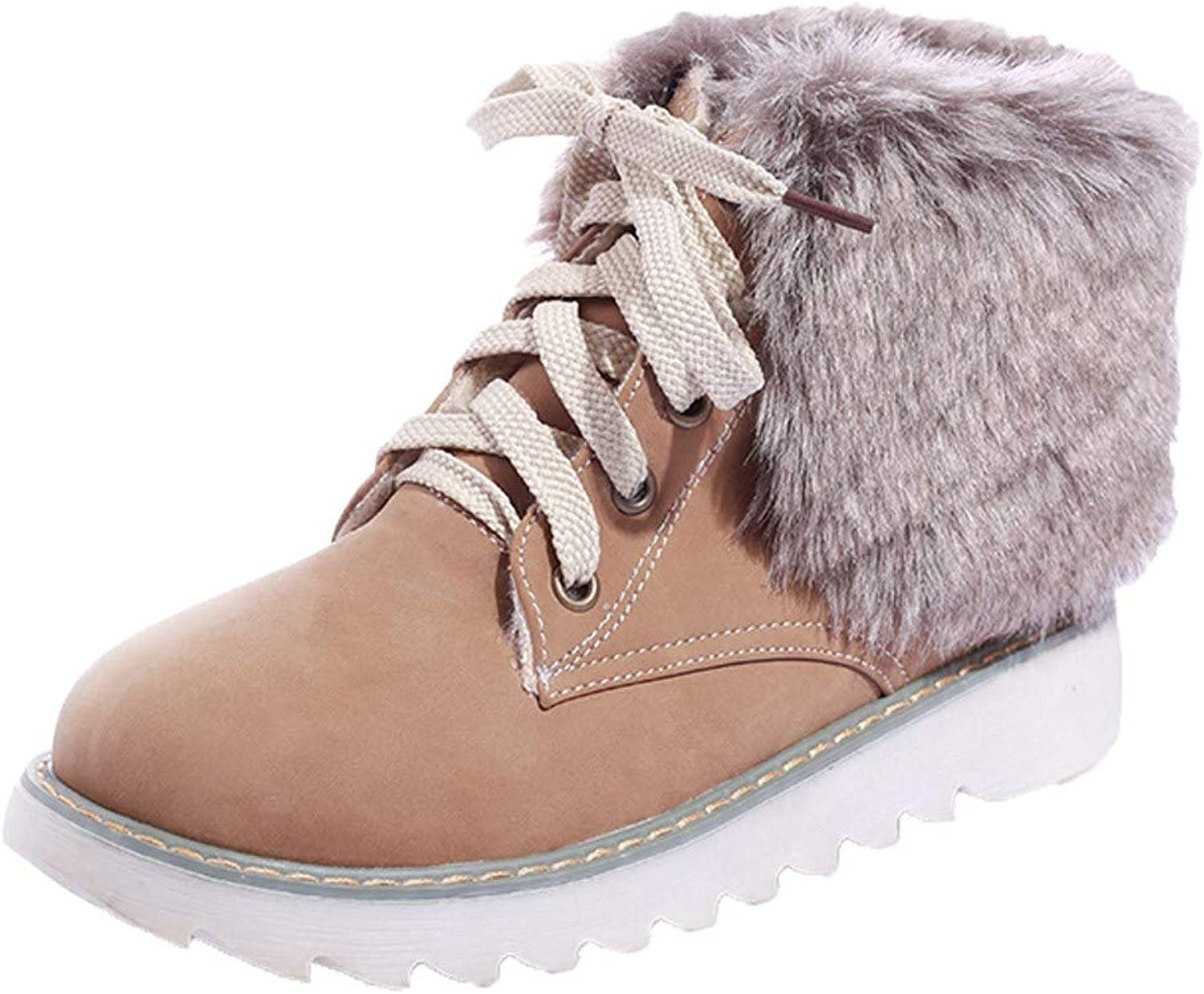 Geetobby Womens Snow Boots Plush Flat Boots shoes Round Head Warm Cotton Boots
