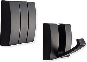 INATSUNNY Folding Hideaway Coat Hooks - Space Aluminum Heavy Duty Wall Hooks - Retractable Hooks for Hanging Coat, Scarf, Hat, Bag, Towel, Key, Cup (Black, 2 Pack)