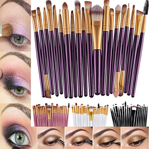 Make-up-Pinsel-Set für Puder, Foundation, Lidschatten, Eyeliner, Lippen, 20-teilig