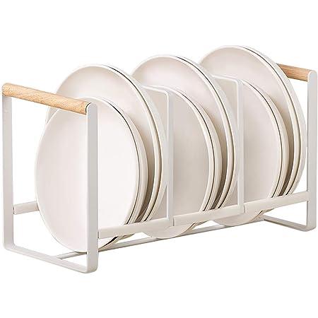 HomeMagic égouttoir à Vaisselle pour la Cuisine à 3 Compartiments, Support de Rangement en Silicone, Support Vaisselle Pratique pour Le Placard de Cuisine, Egouttoir Vaisselle INOX pour Assiettes (2)