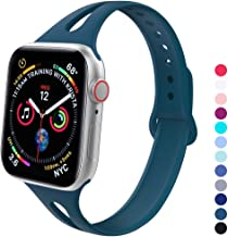 GeekSpark Slim Band Compatible with Apple Watch 38mm 40mm, Soft Silicone Sport Narrow Wristband for iWatch Series 4, Series 3, Series 2, Series 1, Women Men Pacific Green