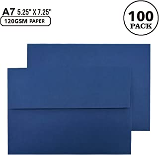 A7 Navy Blue Invitation 5x7 Envelopes - Self Seal, Square Flap,Perfect for 5x7 Cards, Weddings, Birthday, Invitations, Graduation, Baby Shower, 5.25 x 7.25 Inches, 100 Pack, (Navy Blue)