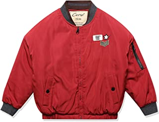 CUNYI Boys' Quilt Lined Baseball Bomber Flight Jacket Midweight Coat