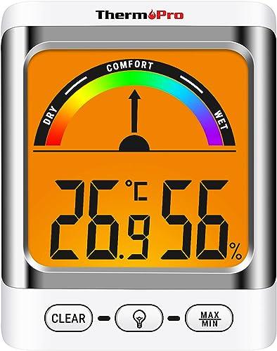 ThermoPro TP52 Higrómetro Termómetro Digital Medidor de Temperatura y Humedad Ambiente Interior Termohigrómetro con R...