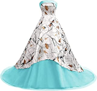 Women's Camo Printed Wedding Dress Tulle Ball Gown Prom Party Quinceanera Dress