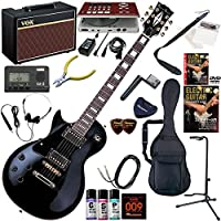 Photogenic エレキギター 初心者 入門 レスポールタイプ 左利き用 ギターの練習が楽しくなるCDトレーナー(エフェクターも内蔵)と人気のギターアンプVOX Pathfinder10が入った強力21点セット LP-370LH/BK(ブラック)