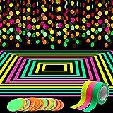 WATINC 72Ft Guirlande de Papier Néon 3Pcs UV Fluorescente Rubans Set Garland à Pois de Cercle Bannière Lumière Noire Réactifs Gaffer Bande Décoration pour Fête de Lumière Noire Mariage d'anniversaire