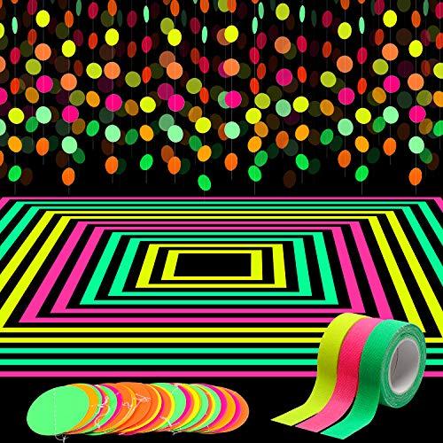 WATINC 72ft Neon Girland Dekoration Set Regenbogen Hängend Runde Papier Garland 3Pcs Fluoreszierendes Tuchband UV Schwarzlicht Reaktives Neon Gaffer Tape Glow UV-Party Supplies für Geburtstag Hochzeit