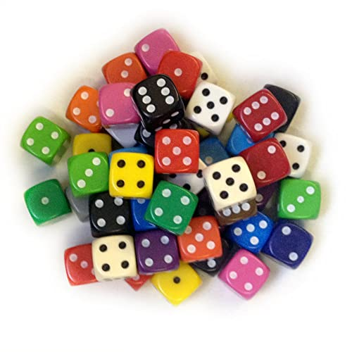 Dice and Games BigCherry Lot de 50 dés aux coins arrondis 12 mm