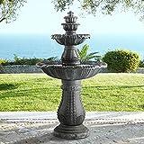 John Timberland Hampton Italian Outdoor Floor Water Fountain with Light LED 56 3/4' High 4 Tiered for Yard Garden Patio Deck Home