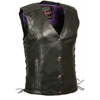 Black//Purple, XXX-Large Milwaukee Womens Leather Vest
