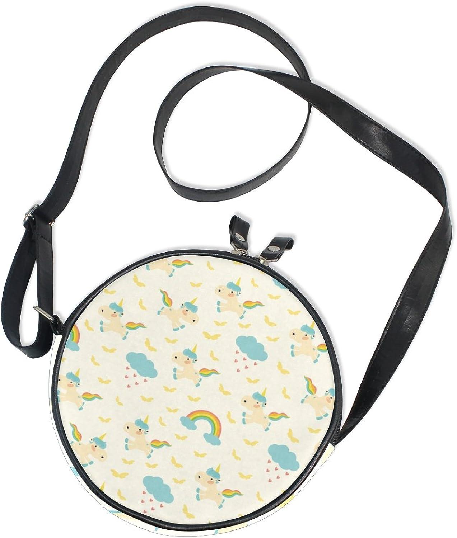 XinMing Rainbow Animals Girl Round Crossbody Shoulder Bags Adjustable Top Handle Bags Satchel for Women