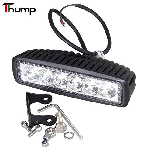 Thump 6 LED Heavy Duty CREE LED Fog Light/Work Light Bar Spot Beam Off Road Driving Lamp Universal Fitting for All Bikes and Cars (18W, Pack of 1)