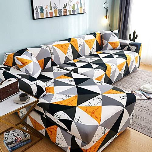 B/H Sofabezug für Sofa Couch Sessel,Für Wohnzimmer Geometrische Sofabezug L-förmige Chaiselongue Schonbezug-4_2-Sitz & 2-Sitz,Elastischer Sofabezug Couchbezug