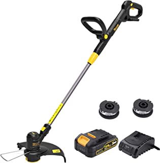 TECCPO String Trimmer, 20V 2Ah Lithium Ion, 2 16ft Nylon Thread Spool, Automatic Feed Spool, 12in Cutting Swath, Cordless Professional Grass Trimmer/Edger, Battery and Charger Include - TDLT02G