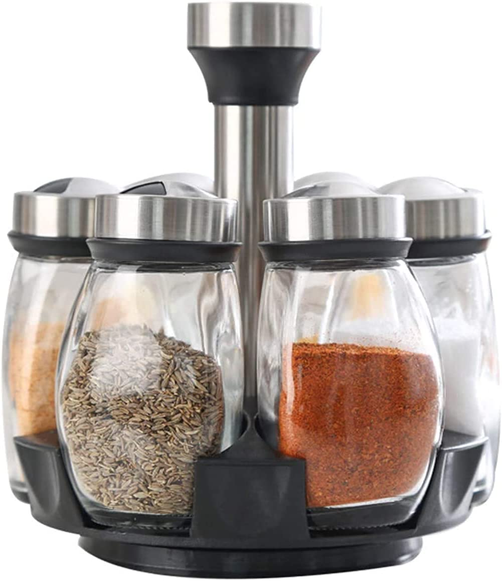 trend rank JYDNBGLS Yzf 6 Bottle Rotating Seasoning Storage All items in the store Rack Glas