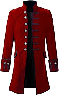 Cappotto Steampunk Vintage Uomo Camicia Manica Lunga Collo Alto Colletto Maniche Lunghe Pure Colour Sezione Media Bottoni ...