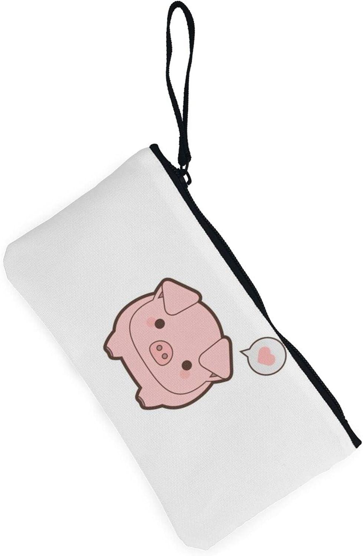 AORRUAM Pink Pig Canvas Coin Purse,Canvas Zipper Pencil Cases,Canvas Change Purse Pouch Mini Wallet Coin Bag