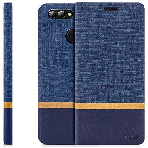 zanasta Tasche kompatibel mit Huawei Nova 2 Plus Hülle Flip Hülle Schutzhülle Handytasche mit Kartenfach Blau