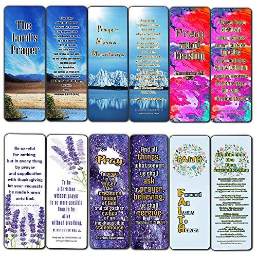 Christian Prayer Inspirational Bookmarks Cards KJV 60-Pack - The Lords Prayer King James Version- Prayer Cards for Prayer Journal Book - Bible - Powerful War Room Decor