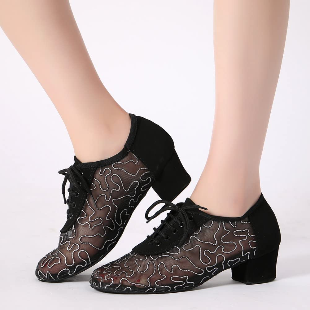 LOVELY BEAUTY Lady's Ballroom Fabric and Meshmps Dance Shoes