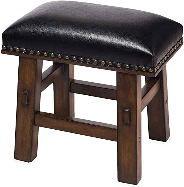 Plow Hearth Canyon Black Leather Footstool Black