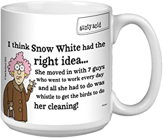 Aunty Acid Funny Extra Large Mug, 20-Ounce Jumbo Coffee Cup, Hilarious Gag Gift for Office Coworkers, Snow White XM27823 -...