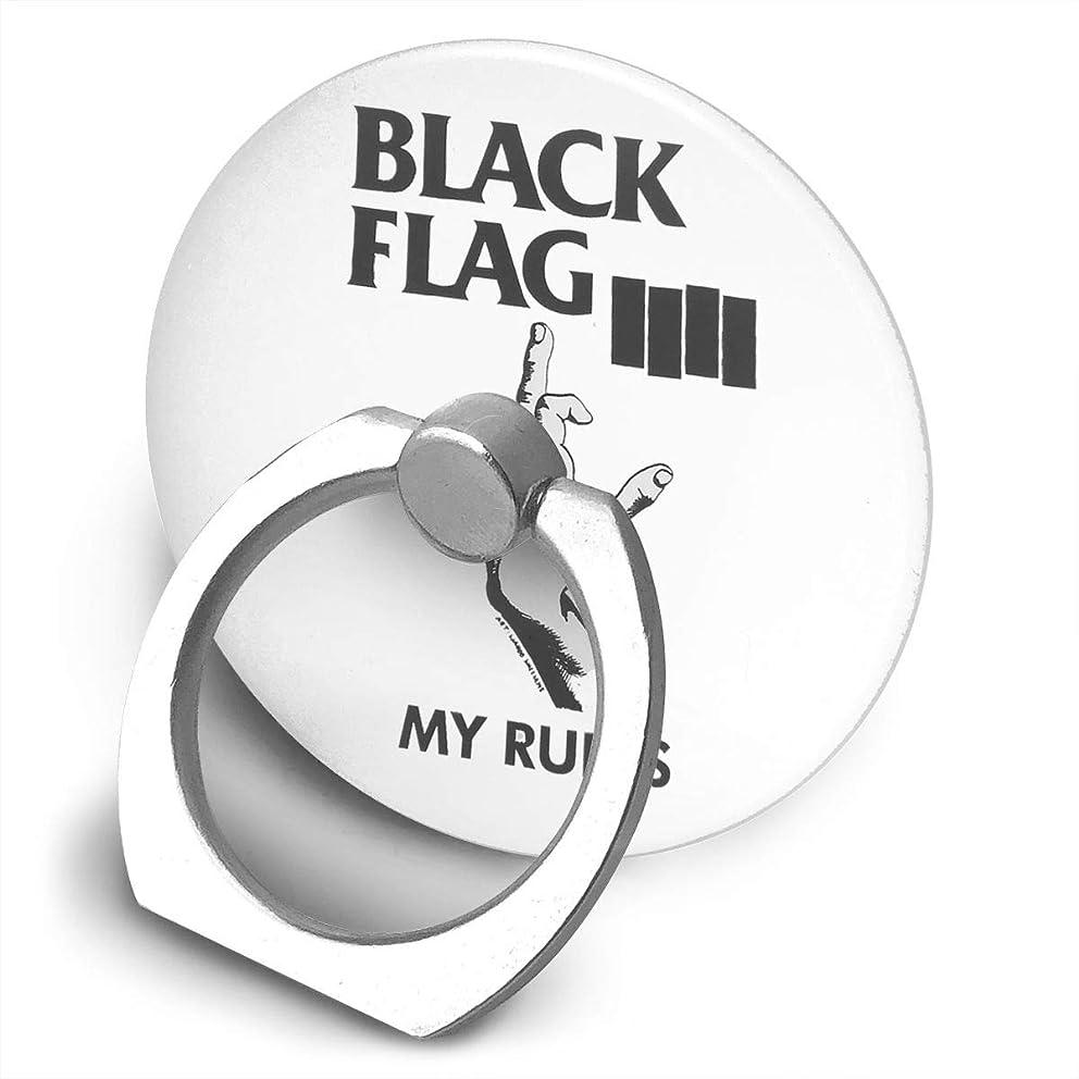 自体夜の動物園プライバシーBlack Flag ブラック?フラッグ My Rules スマホ リング ホールドリング 指輪リング 薄型 おしゃれ スタンド機能 落下防止 360度回転 タブレット/スマホ IPhone/Android各種他対応