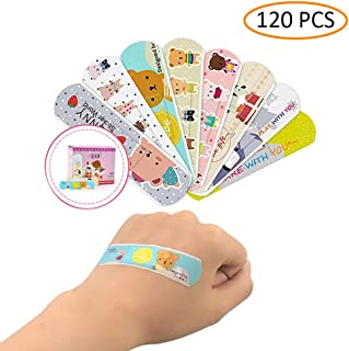 Cartoon Bandaids Adhesive Bandages 120PCS Waterproof Creative 10 Different Patterns Bandages Cute Hemostasis Adhesives First Aid Kit for Kids