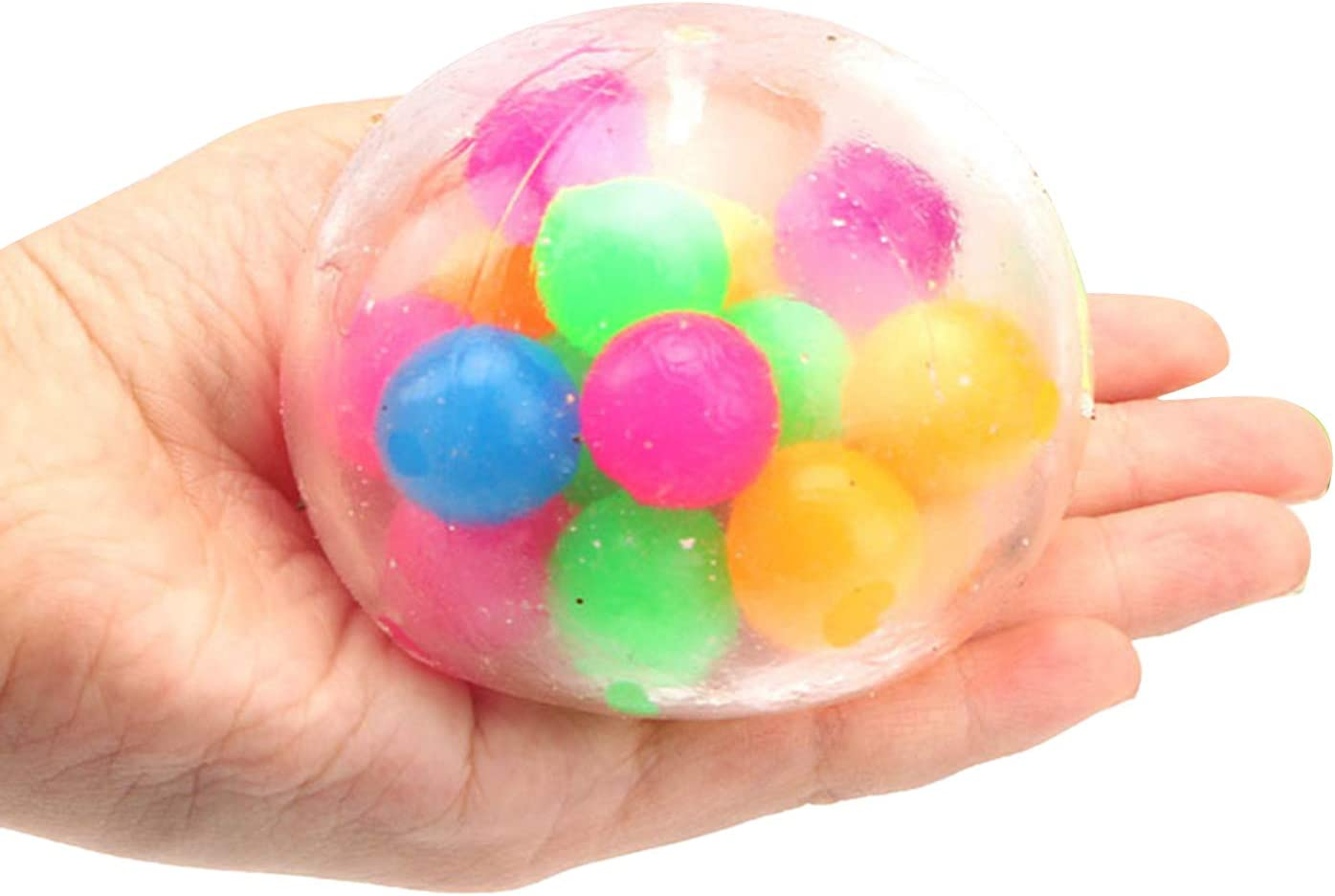 Squishy Stress Relief Balls Toy Squeezing Filled with Water Beads ADHD OCD Anxiety Relieve Novelty Fidget Toy Colorful, d#