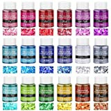 Chunky Glitter for Resin, Thrilez 18 Colors Holographic Chunky Glitter Sequins Craft Glitter Powder Tumbler Glitter for Resin Decoration Nail Art Slime (0.35oz/Pack)