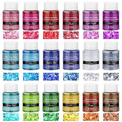 Chunky Glitter for Resin, Thrilez 18 Colors Holographic Chunky Glitter Sequins Craft Glitter Powder Tumbler Glitter for Resin Decoration Nail Art Slime (0.35oz/Pack)