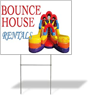Plastic Weatherproof Yard Sign Bounce House Bounce House Rentals #1 for Sale Sign One Side 18inx12in