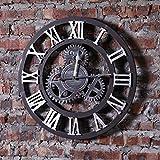 Yubingqin Reloj de pared vintage estilo industrial loft sala de estar, café números romanos reloj de pared para colgar en la pared (19.5 x 0.6 x 19.5 pulgadas) (color plateado)