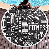 Coperta da spiaggia Tappezzeria rotonda per il fitness Composizione a tema di vita attiva con citazioni Figure di esercizi e varie icone per la spiaggia Tappeto da picnic Tappetino da yoga Grigio chia