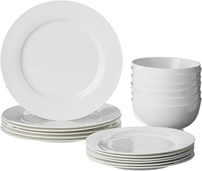 Red Vanilla Pure Vanilla Rimmed 18 Piece Dinner Set, 1, White