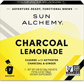 Sun Alchemy Charcoal Lemonade, Detox & Cleanse with Organic Lemon Juice, Coconut Water, Activated Charcoal, Ginger & Schisandra - 7 Sachets | Just Add Water & Enjoy