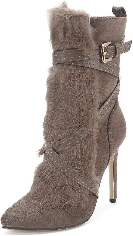 Women's Suede High Heel Side Zipper Ankle Booties Heel Boots Fur Knight Women's Boots Real Rabbit Plush Texture