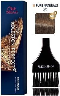 Wella KOLESTON PERFECT ME+ Permanent Creme Haircolor Dye, 2 oz (with Sleek Tint Brush) Perfect Me + Cream Hair Color (7/0 Medium Blonde/Natural)
