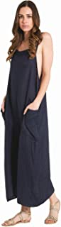 Ladies Lightweight Loose Fit Linen Dungarees - Navy One Size Wide Leg Overalls