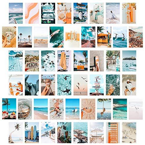 50 Blaues ästhetisches Bild für Wandcollage, Sommer Strand Collage, Mode Raumdekoration für Mädchen, Zimmer Wandkunstdruck, Schlafsaal Foto Display, VSCO Wall Poster für Schlafzimmer