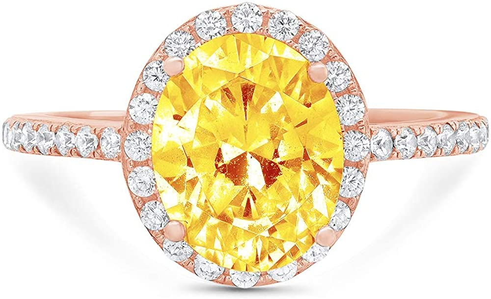 2.86ct Brilliant Oval Cut Solitaire with Accent Halo Natural Yellow Citrine Gemstone Ideal VVS1 Engagement Promise Anniversary Bridal Wedding Ring Real 14k Pink Rose Gold