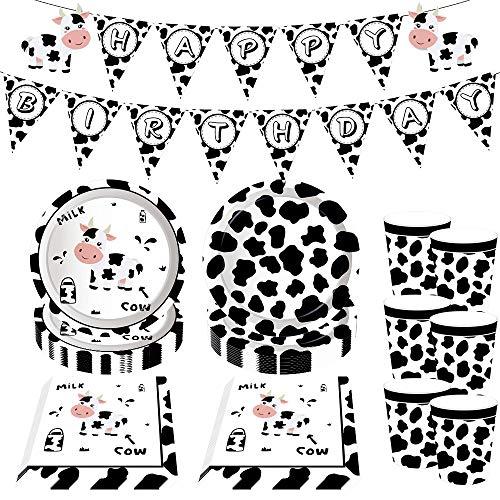 JeVenis 33 unidades de suministros de fiesta de cumpleaños de vaca de fiesta de cumpleaños platos y servilletas de vaca granja decoraciones