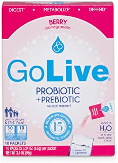 GoLive Prebiotics and Probiotics for Gut and Digestive Health – Prebiotics for Women, Men and Children with Vitamin D3 and L Glutamine Pomegranate Flavored Ready to Mix Powder Packets – 10 Count