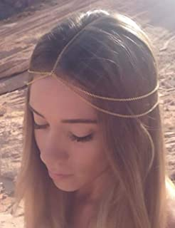 Chargances Women Multi-Layered Head Chain Headband Halloween Gold Head Chain Wedding Headband Prom Festival Headpiece Boho Belly Dancer Jewelry Hair Accessories for Women and Girls