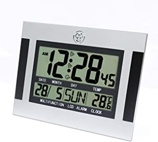 ZinESaya Digital Desk Wall Alarm Clock with Thermometer & Calendar LCD Screen H110